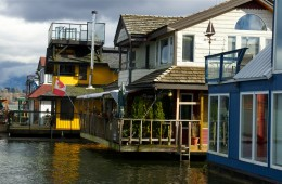 floating homes in a row